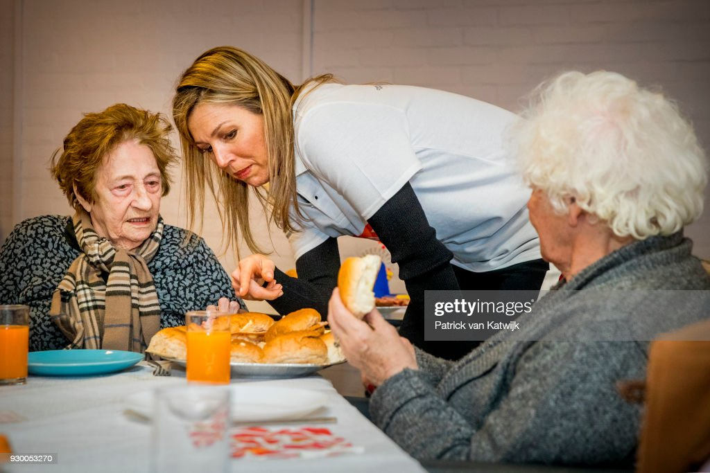 Queen Maxima of The Netherlands volunteers during the NL Doet at residential care centre 't Hofland in Pijnacker on March 10, 2018 in Pijnacker, Netherlands.
