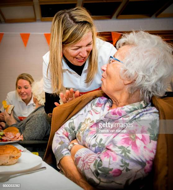 Queen Maxima of The Netherlands volunteers during the NL Doet at residential care centre 't Hofland in Pijnacker on March 10 2018 in Pijnacker...