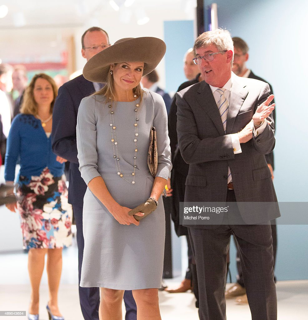 Queen Maxima of The Netherlands walks with Ton Lansdaal after opening the new visitor center of the Netherlands Bank on September 22, 2015 in Amsterdam, Netherlands