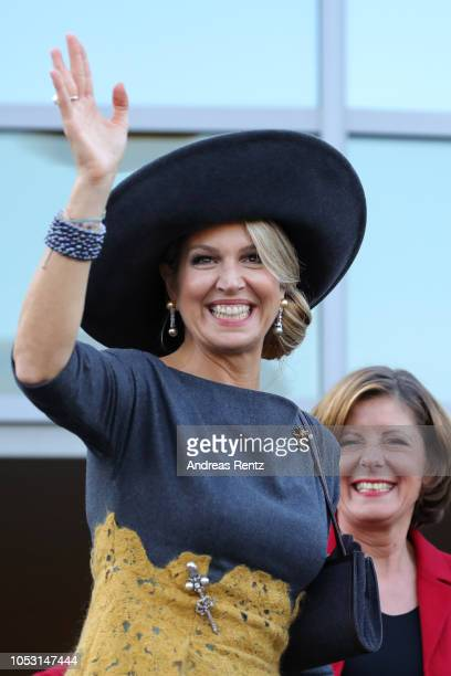 Queen Maxima of The Netherlands waves to the crowds on her departure on October 10 2018 in BernkastelKues Germany King WillemAlexander of The...