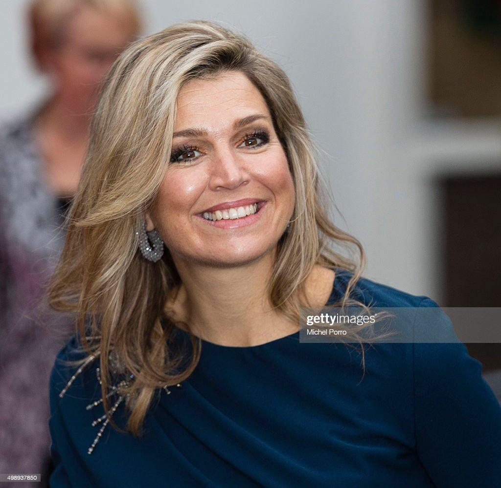 Queen Maxima of The Netherlands wearing a dress by Danish designer Claes Iversen leaves after attending the 'Kracht On Tour' financial support workshops for women at the Fokker Terminal on November 27, 2015 in The Hague, Netherlands. The workshops deal with financial independence for women and encourage women to grab more chances to use their talents on the work floor