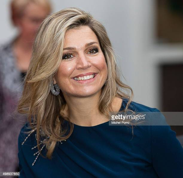 Queen Maxima of The Netherlands wearing a dress by Danish designer Claes Iversen leaves after attending the 'Kracht On Tour' financial support...