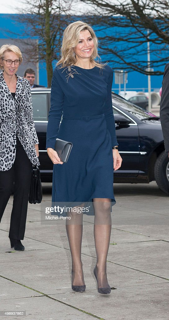 Queen Maxima of The Netherlands wearing a dress by Danish designer Claes Iversen arrives for the 'Kracht On Tour' financial support workshops for women at the Fokker Terminal on November 27, 2015 in The Hague, Netherlands. The workshops deal with financial independence for women and encourage women to grab more chances to use their talents on the work floor