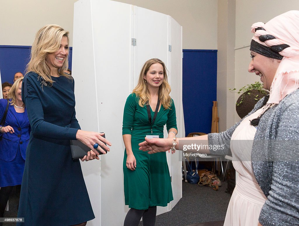 Queen Maxima of The Netherlands wearing a dress by Danish designer Claes Iversen meets women during the 'Kracht On Tour' financial support workshops for women at the Fokker Terminal on November 27, 2015 in The Hague, Netherlands. The workshops deal with financial independence for women and encourage women to grab more chances to use their talents on the work floor