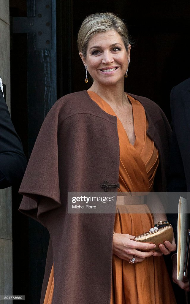Queen Maxima of The Netherlands, wearing a dress by Dutch designer Mattijs van Bergen and a brown cape of Princess Beatrix arrives to attend the New Year's reception for the diplomatic corps at the Royal Palace on January 13, 2015 in Amsterdam, Netherlands.