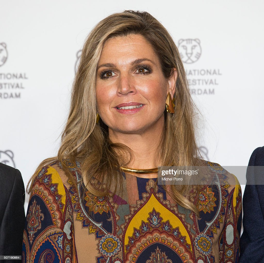Queen Maxima of The Netherlands wearing an Etro jumpsuit attends the opening of the Rotterdam International Film Festival on January 27, 2016 in Rotterdam, Netherlands.