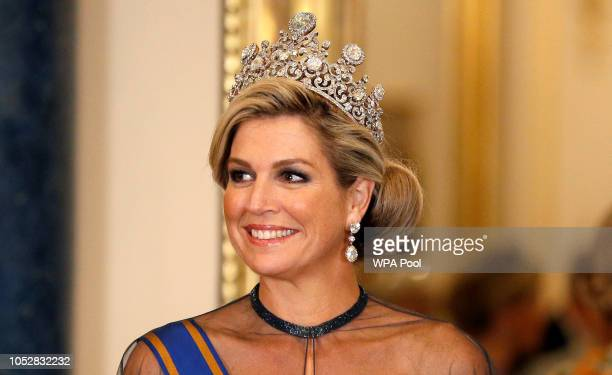 Queen Maxima of The Netherlands wears the Stuart Tiara during a State Banquet at Buckingham Palace on October 23, 2018 in London, United Kingdom....
