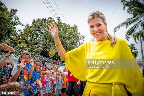 Queen Maxima of The Netherlands with children at the Dutch residence on October 31, 2017 in Lagos, Nigeria. Queen Maxima of The Netherlands visits...