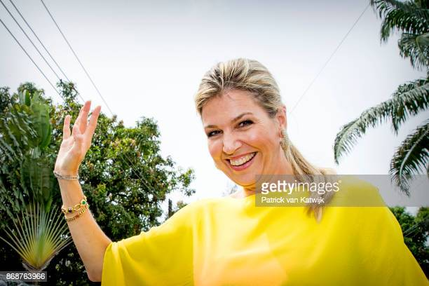 Queen Maxima of The Netherlands with children at the Dutch residence on October 31 2017 in Lagos Nigeria Queen Maxima of The Netherlands visits...