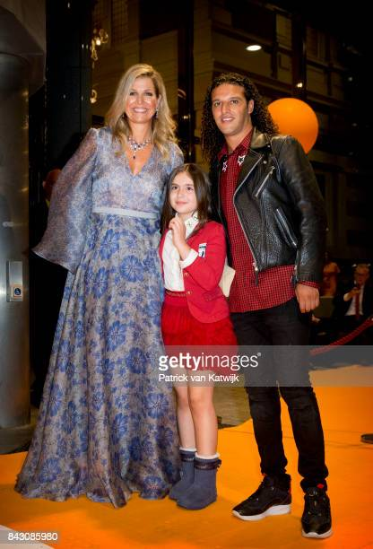 Queen Maxima of The Netherlands with Dutch rapper Ali B attends the benefit gala dinner for the Princess Maxima Center for childrenÕs oncology in the...