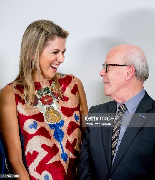 Queen Maxima of The Netherlands with Hans van Manen attend the premiere of the ballet performance Ode to the Master at the National Opera Ballet on...