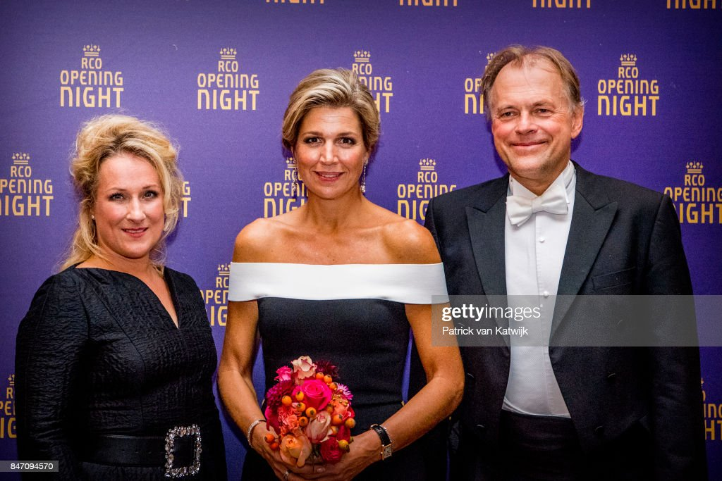 Queen Maxima of The Netherlands with soprano Diana Damrau (L) and conductor Thomas Hengelbrock (R) attends the opening of the new season of the Concertgebouw orchestra on September 14, 2017 in Amsterdam, Netherlands.