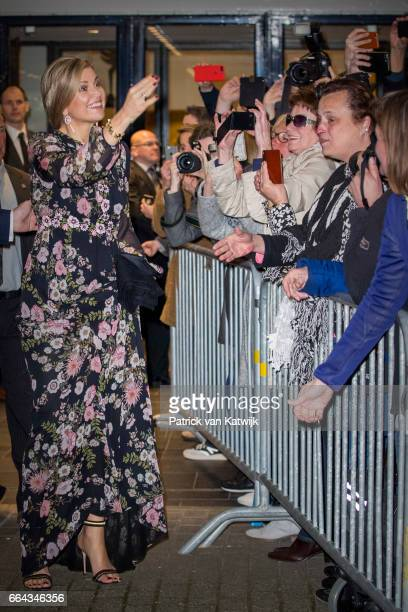 Queen Maxima of the Netherlands with well wishers at Theater Tilburg after the Kingsday concert on April 4 2017 in Tilburg The Netherlands