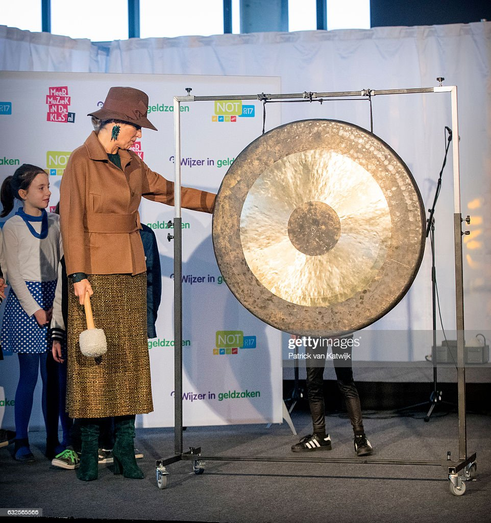 Queen Maxima opens the national education exhibition in the Jaarbeurs Utrecht on January 24, 2017 in The Hague, Netherlands. At the exhibition the queen visits the stand of Music in the Class and Education in money business.