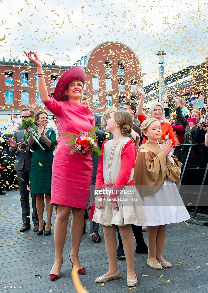 Queen Maxima, Princess Alexia and Princess Ariane of The Netherlands participate in King's Day celebrations on April 27, 2015 in Dordrecht, Netherlands.