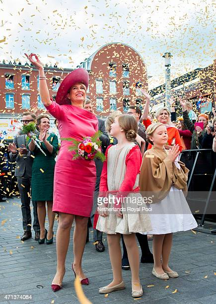 Queen Maxima, Princess Alexia and Princess Ariane of The Netherlands participate in King's Day celebrations on April 27, 2015 in Dordrecht,...