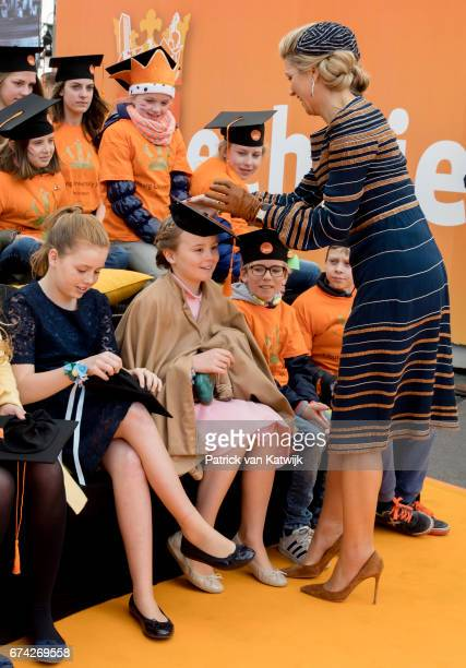 Queen Maxima Princess Alexia and Princess Ariane of The Netherlands attend the King's 50th birthday during the Kingsday celebrations on April 27 2017...