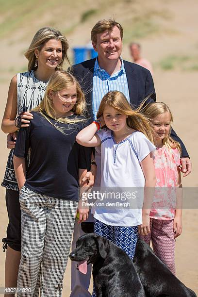Queen Maxima Princess Amalia King WillemAlexander Princess Alexia and Princess Ariane of The Netherlands and their dogs Skipper and Nala pose for...