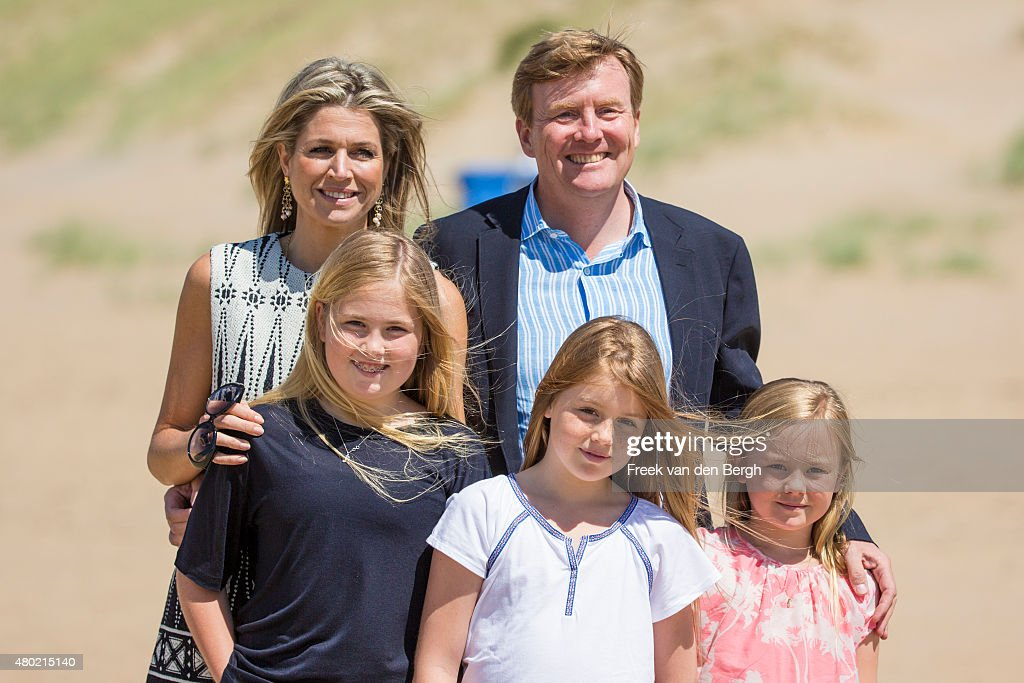 Queen Maxima, Princess Amalia, King Willem-Alexander, Princess Alexia, and Princess Ariane of The Netherlands pose for pictures on July 10, 2015 in Wassenaar, Netherlands.