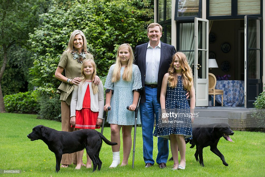 Queen Maxima, Princess Ariane, Crown Princess Catharina-Amalia, King Willem-Alexander and Princess Alexia of The Netherlands pose for pictures during the annual summer photo call at their residence Villa Eikenhorst on July 8, 2016 in Wassenaar, Netherlands.