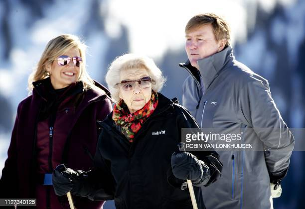 Queen Maxima Princess Beatrix and King WillemAlexander of the Netherlands pose during the annual photo session in Lech on February 25 2019 /...