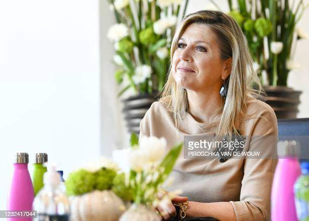Queen Maxima visits the cleaning company CSU, winner of the Koning Willem I Prize in the Large Business category, in Uden on April 20, 2021. -...
