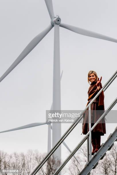 Queen Maxima visits the Windmill park NijmegenBetuwe in Nijmegen on January 31 2017 in Nijmegen The Netherlands The park is an initiative owned by...