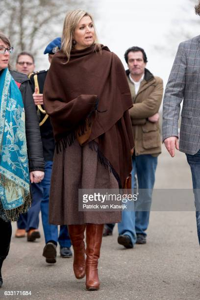 Queen Maxima visits the Windmill park Nijmegen-Betuwe in Nijmegen on January 31, 2017 in Nijmegen, The Netherlands. The park is an initiative owned...