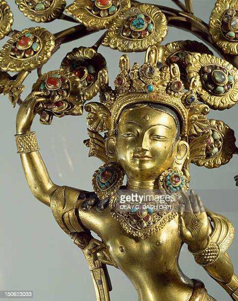 Queen Maya gives life to the future Buddha gilded bronze statue Nepal Nepalese Civilisation 18th century