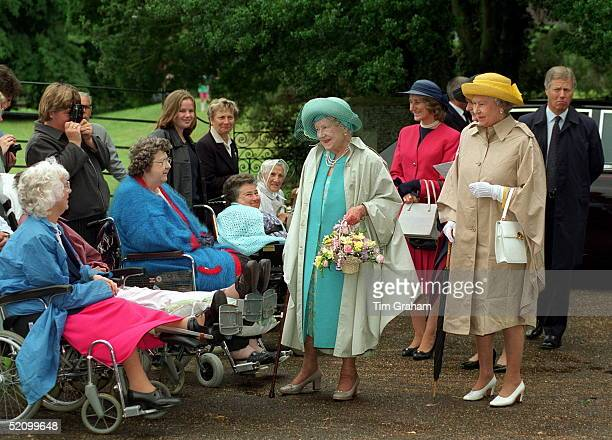 Queen Mother Attends Church At Sandringham With The Queen Just Before Her 98th Birthday. In Pink Suit Is Lady Angela Oswald, The Queen Mother's Lady...