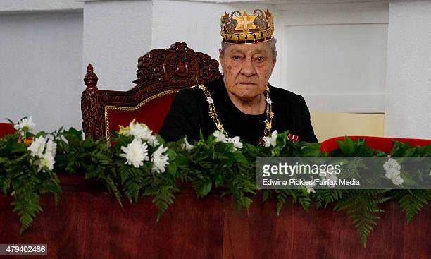 Queen mother Halaevalu Mata'aho mother of King Tupou VI of Tonga is seen at the Free Wesleyan Church during the official coronation ceremony on July...