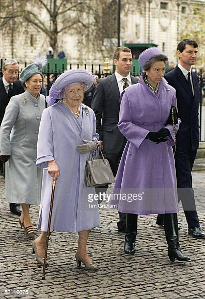 Queen Mother, Princess Margaret, Princess Anne, With Son Peter Phillips & Husband Tim At Westminster Abbey For Golden Wedding Anniversary Service