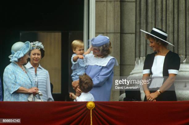 Queen Mother Princess Margaret Princess Diana Prince William and Princess Michael on the balcony of Buckingham Palace for Trooping The Colour on June...