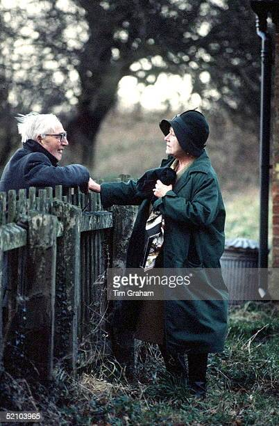 Queen Mother Talking To A Local At Sandringham