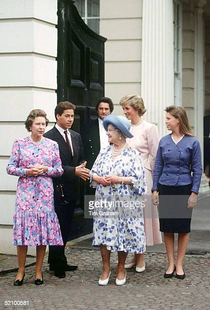 Queen Mother With Other Members Of The Royal Family At Clarence House To Celebrate Her 88th Birthday