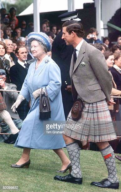 Queen Mother With Prince Charles At Braemar Games In Scotland