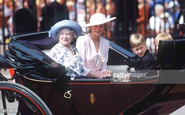 Queen Mother With Princess Diana And Prince William At Trooping The Colour She is wearing a hat by Philip Somerville