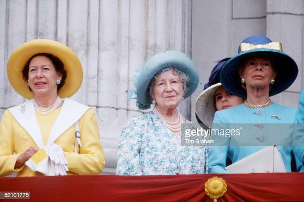 Queen Mother With Princess Margaret And The Duchess Of Kent On The Balcony Of Buckingham Palace For Trooping The Colour