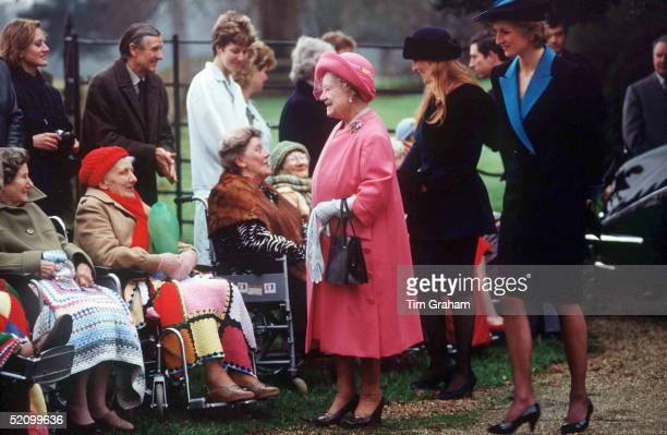 Queen Mother With Princess Of Wales And Duchess Of York After Christmas Service At Sandringham