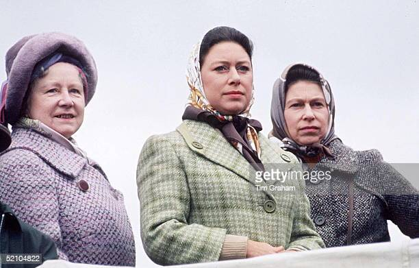 Queen Mother With Queen And Princess Margaret At Badminton.