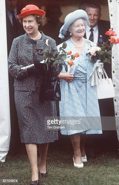 Queen Mother With The Queen At Sandringham Flower Show
