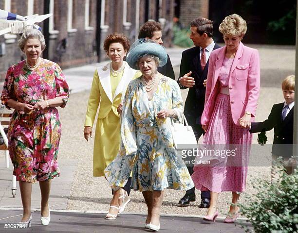 Queen Mother's 92 Birthday The Queen Princess Margaret The Queen Mother Viscount Linley Prince Charles Princess Diana And Prince Harry Walking...