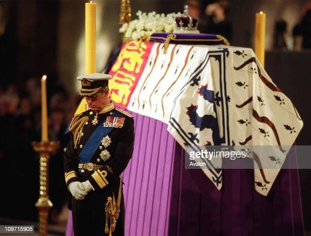 Queen Mother's Lying-In-State, On the eve of her funeral the Queen Mother's four grandsons, the Prince of Wales; the Duke of York; the Earl of Wessex...