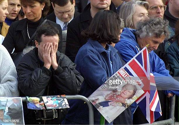 Queen Mother's Procession, Crowds lining the route of the ceremonial procession taking the coffin of HM Queen Elizabeth The Queen Mother from the...