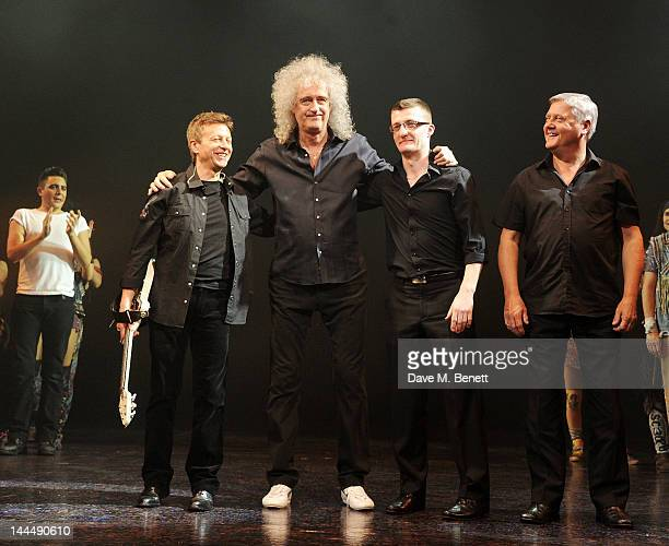Queen musician Brian May bows with band members at the curtain call during the We Will Rock You 10 Year Anniversary Celebration performance at The...