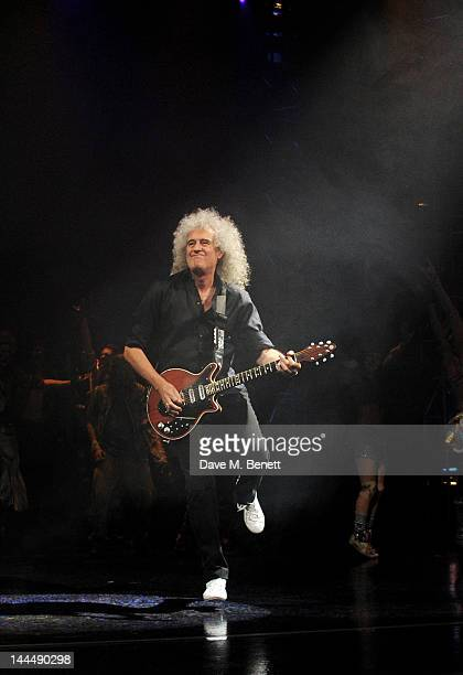 Queen musician Brian May performs during the We Will Rock You 10 Year Anniversary Celebration performance at The Dominion Theatre on May 14, 2012 in...