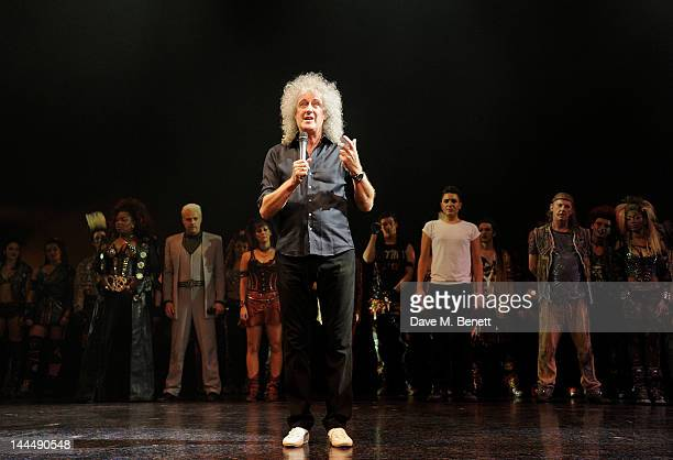 Queen musician Brian May speaks at the curtain call during the We Will Rock You 10 Year Anniversary Celebration performance at The Dominion Theatre...