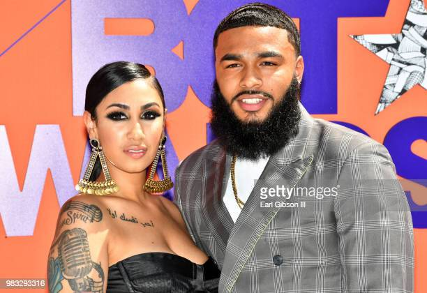 Queen Naija and ClarenceNYC attend the 2018 BET Awards at Microsoft Theater on June 24 2018 in Los Angeles California