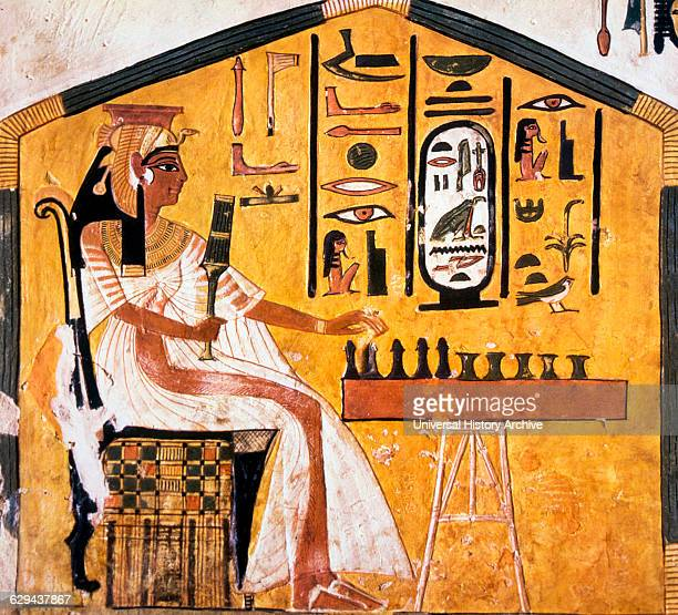 Queen Nefertari Playing Chess Painting From Tomb of Nefertari Valley of the Queens Thebes Egypt