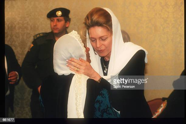 Queen Noor accepts condolences after the death of her husband King Hussein February 9 1999 in Amman Jordan Hussein was a popular figure who strove...